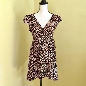 NWOT Aqua leopard / cheetah wrap dress